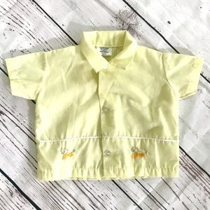 Vintage 1960's horse embroidered yellow shirt